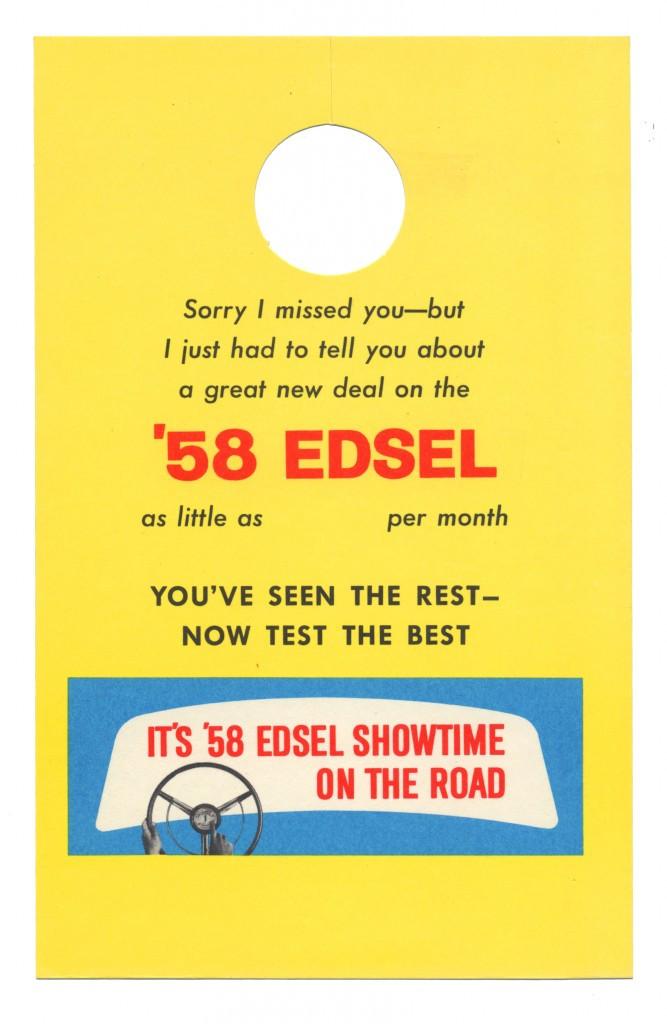 Leave behind 1957 residential door-hanger card.