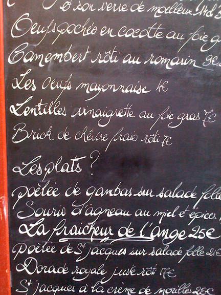 Handlettering menu Restaurant L' Ange Gardien