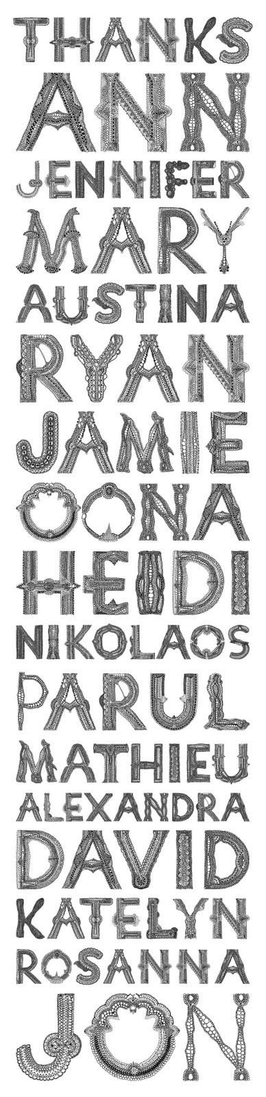 Hansje van Halem, Doily Type, 2009 (sample), Fineliner drawing