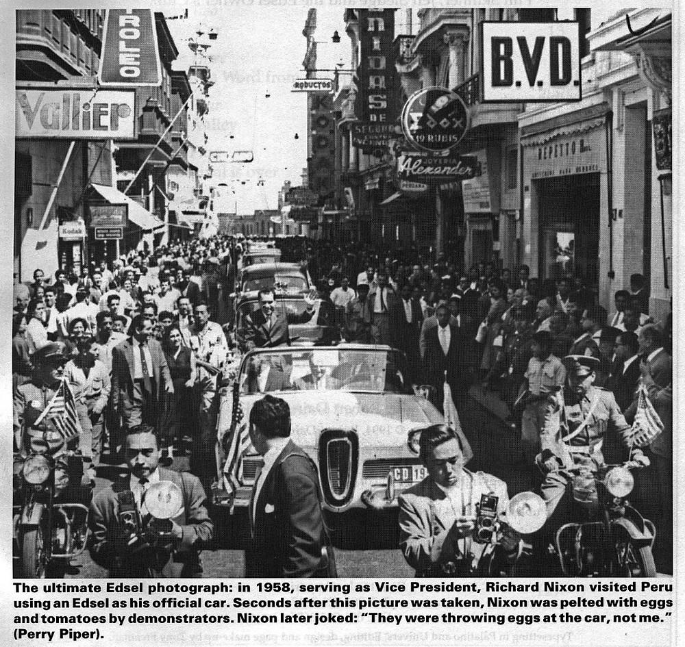 Richard Nixon riding through Peru in an Edsel.