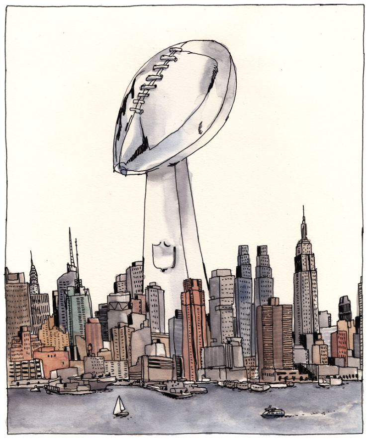 Super Bowl victory illustration by Victor Kerlow
