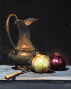 Still Life with Onions and Brass