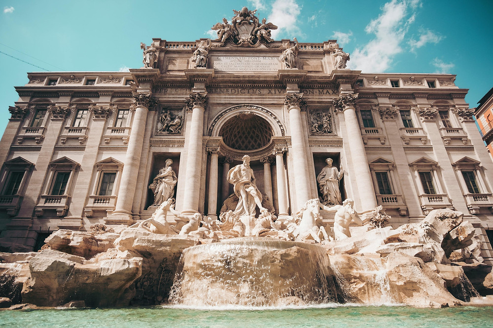 There are many fountains in Italy, but we will suggest the Trevi fountain