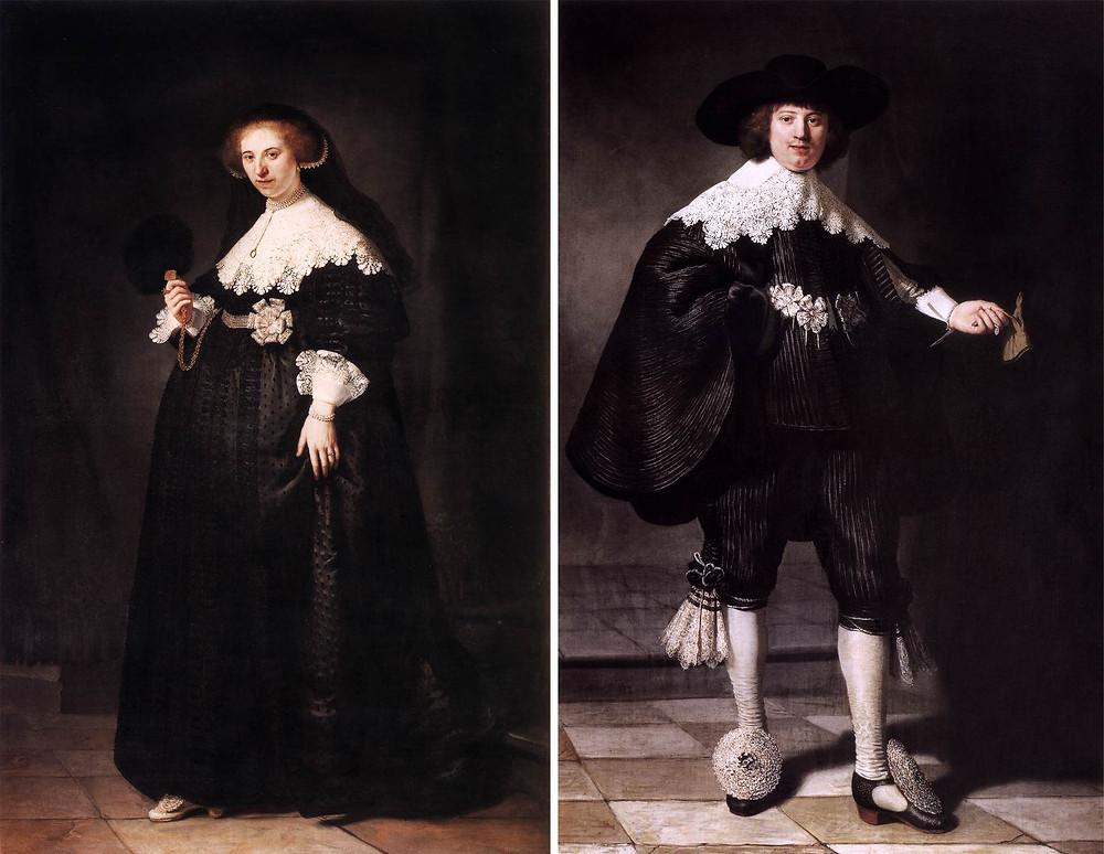 pendant portraits of maerten soolmans and oopjen coppit rembrandt painting