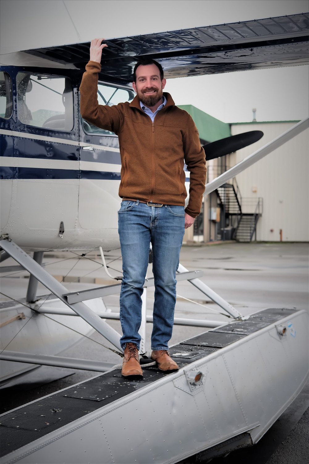 Attorney and Pilot Jimmy Anderson with a floatplane.