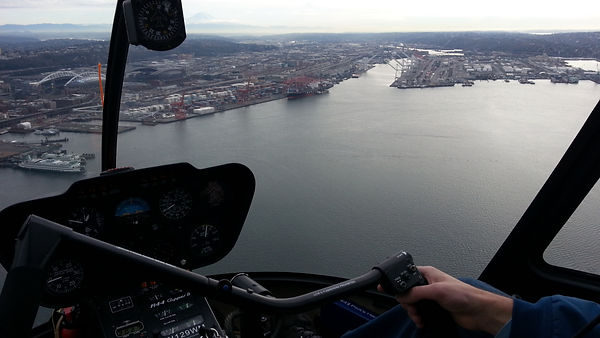 Attorney and pilot James Anderson fying over Seattle's cruie ship terminal