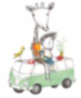 Monika Maslowska Illustration Tirol Wolkenzoo Geschenartikel giraffe camping junge bub rum vw