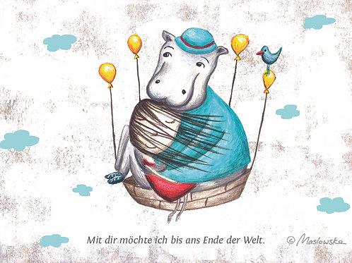 POSTKARTE Hippo