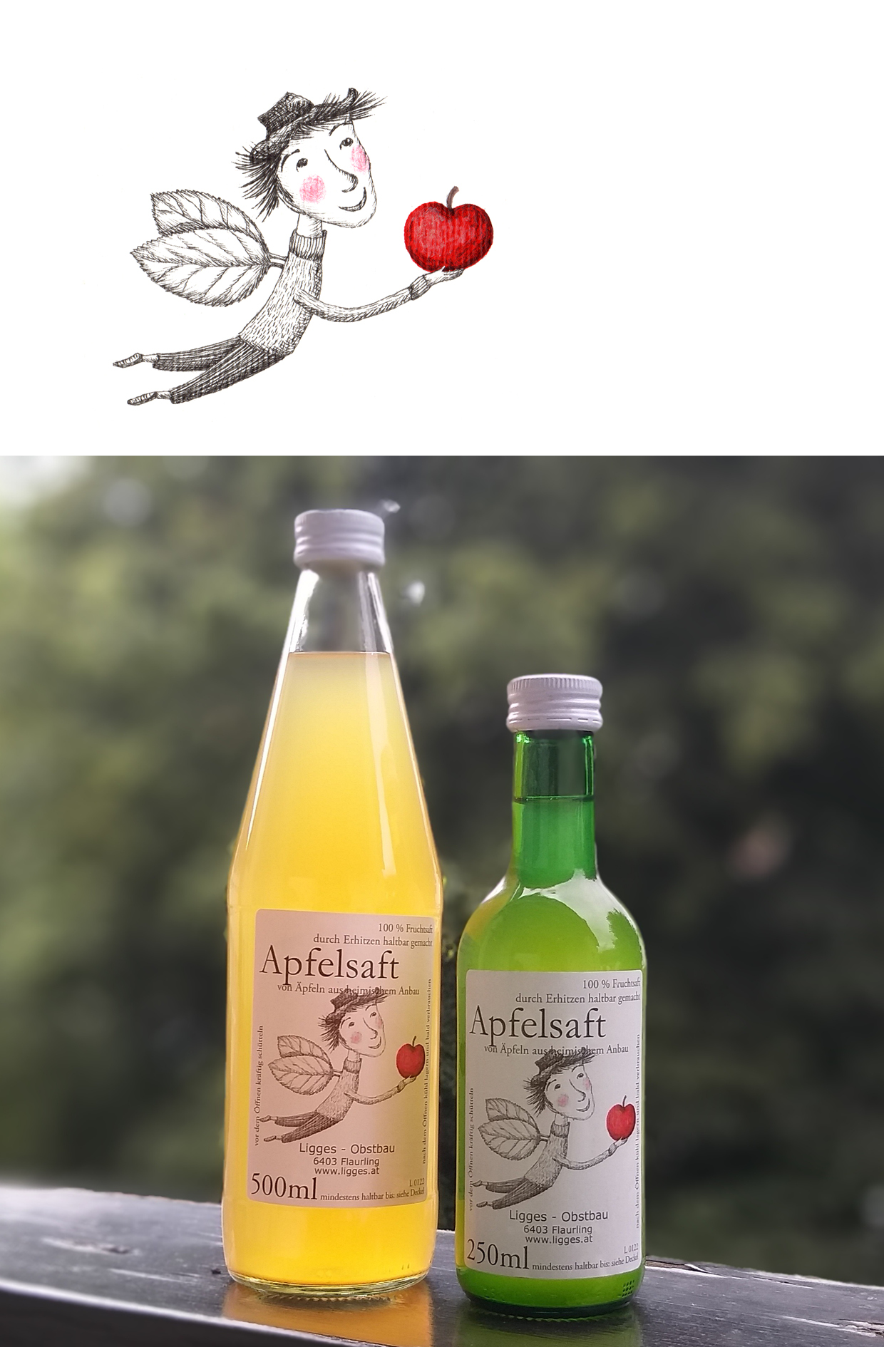 Illustration Apfelsaft-Label
