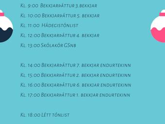 Breyting á dagskrá - 5.bekkur verður kl.10