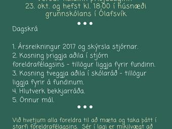 Aðalfundur foreldrafélags GSnb