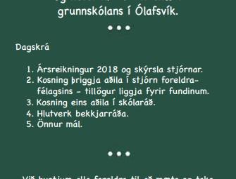 Aðalfundur foreldrafélagsins