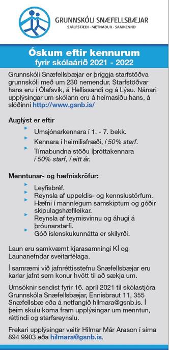 Óskum eftir kennurum fyrir skólaárið 2021-2022