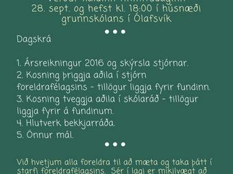 Aðalfundur foreldrafélags GSnb, norðan heiða