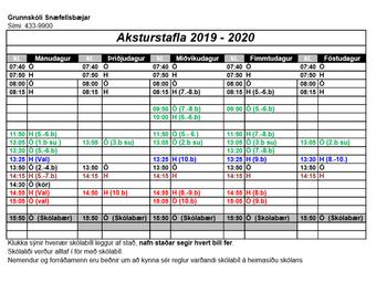 Aksturstafla 2019 - 2020