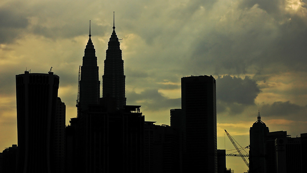View of the city skyline from Jalan Ampang, Kuala Lumpur.