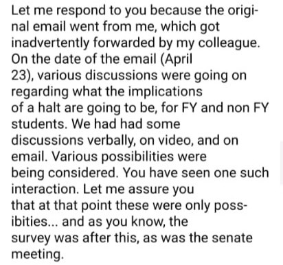 Dean of Academics clarifies intent behind email remarks accidentally shared with the student body
