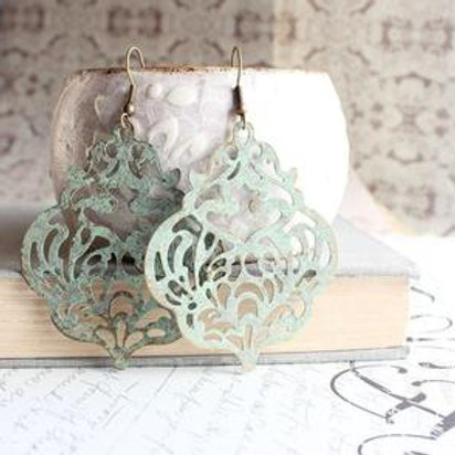 Damask Filigree Earrings - Sage