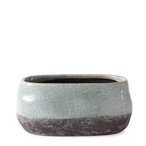 Corsica Ceramic Crackle 2 Tone Oval Pot Short - Celadon Blue