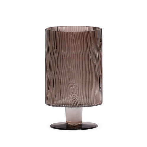 "Aspen Bark Pattern 9h"" Smoke Glass Vase With Base"