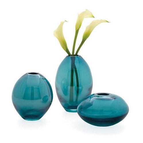 Mini Lustre Assorted 3 Piece Turquoise Glass Vase Set