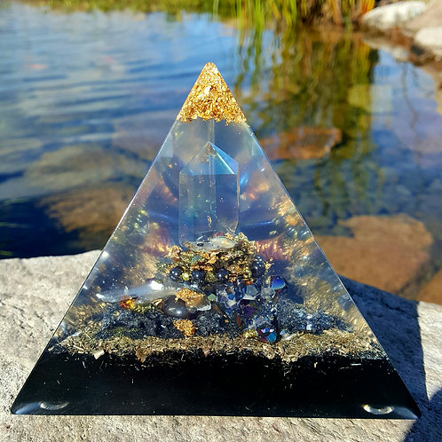 Tetrahedron Titanium Quartz Point (3 sided) Orgonite Pyramid