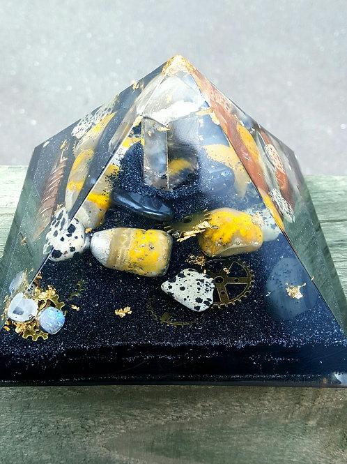 Phantom Quartz with Bumblebee Jasper Pyramid