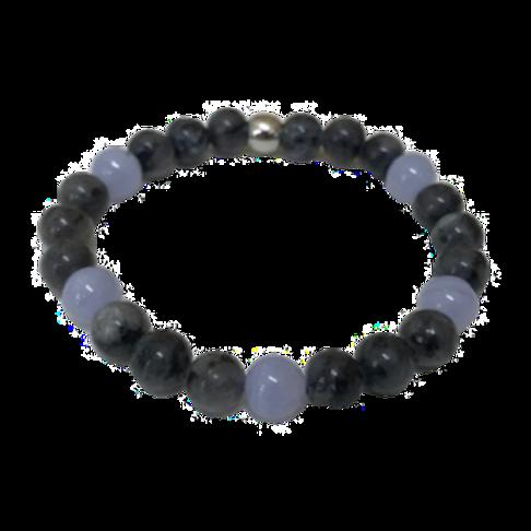 Larvikite & Blue Lace Agate Bracelet - 8mm