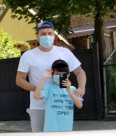 father and son wearing masks