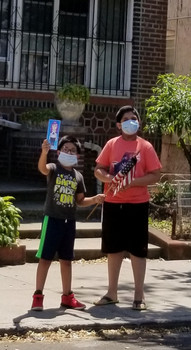 two boys wearing masks