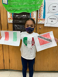 girl holding a flag