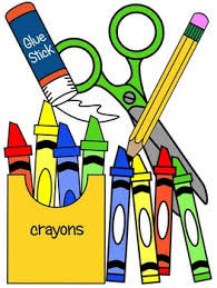 crayons and glue