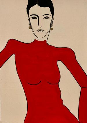 Lady Red Turtleneck