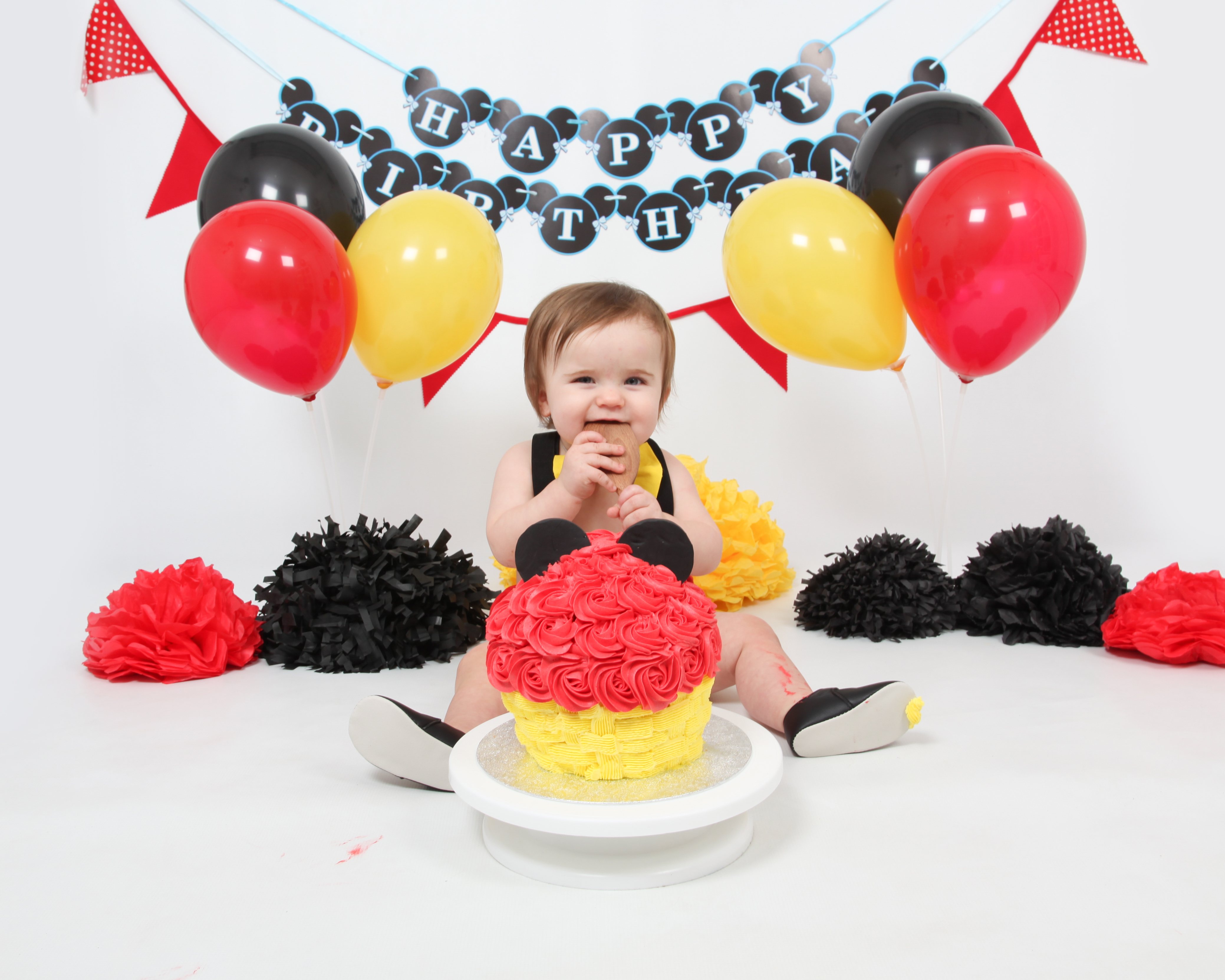 Mickey Red and Yellow Cake Smash