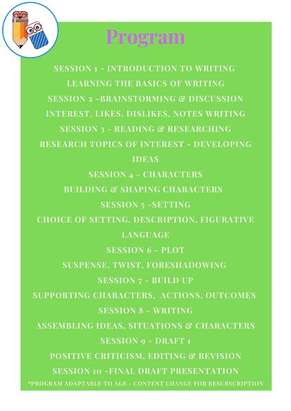 Creative Writing Club - 2021 Program Outline