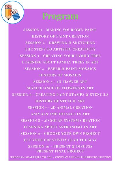 Arts & Crafts - 2021 Program Outline