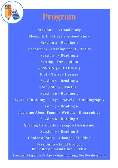Book Club - 2021 Program Outline