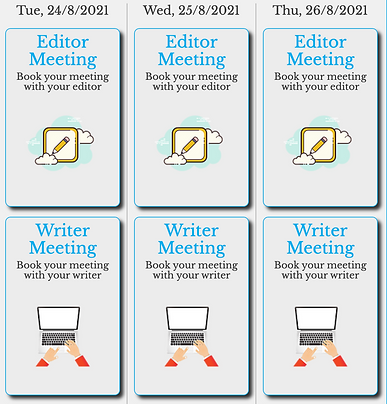 Book your meeting with your editor or writer simply!