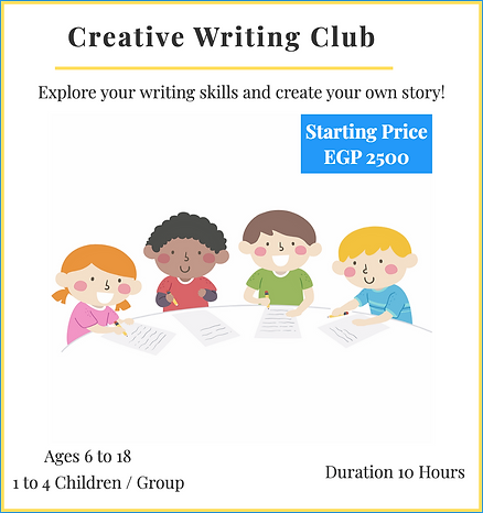 Creative Writing Club - Tell Us Your Story! Prices Starting 2500 EGP/10 Hours