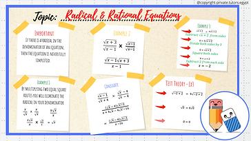 Radical & Rational Equations Flash Card