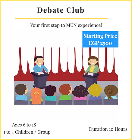Debate Club - Speak Up, Your Opnion Matters! Prices Starting 2500 EGP/10 Hours