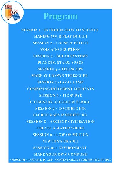 Science Club - 2021 Program Outline