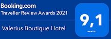Booking.com traveller review award 2021.