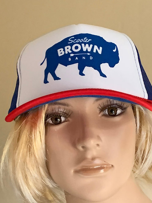 Scooter Brown Band Trucker Hat - Red White & Blue