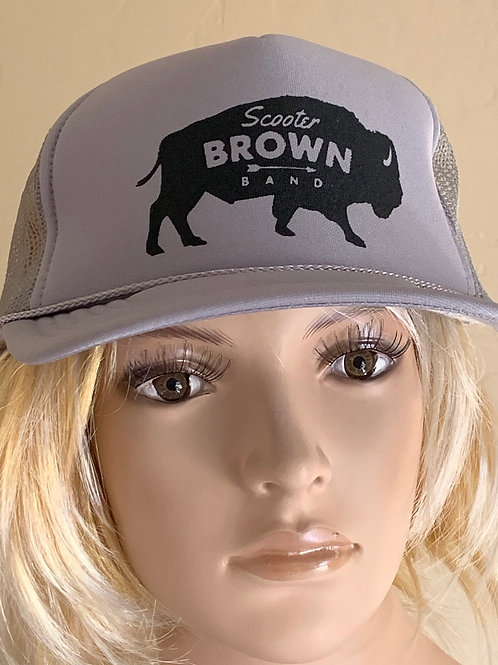 Scooter Brown Band Trucker Hat - Gray and Black