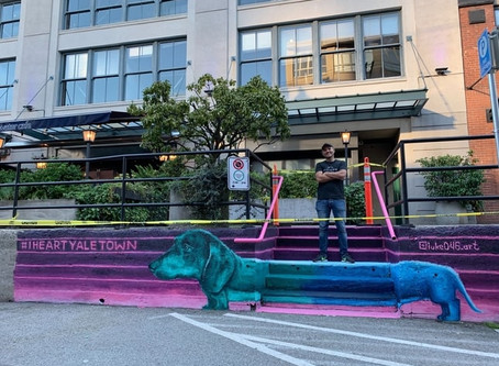 New colourful wiener dog mural brightens up Yaletown