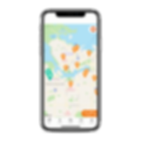 iphone X showing PawSwap App and the map of Vancouver