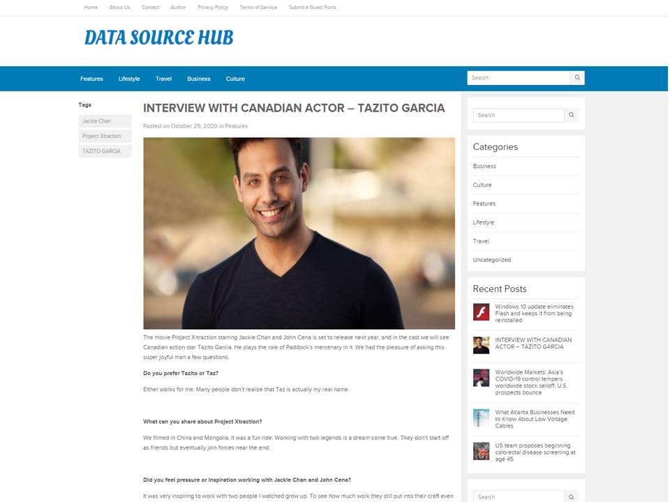 DATA SOURCE HUB | tazito garcia | taz garcia | canadian actors |new action movies
