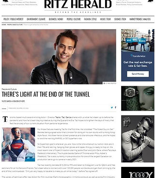The Ritz Herald #tazitogarcia #taz garcia #covid19help #superman , light at the end of the tunnel , PPE , Taz Garcia, magazine interview