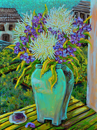 Mums in Blue Vase $700, 18 x 24 Oil on Canvas